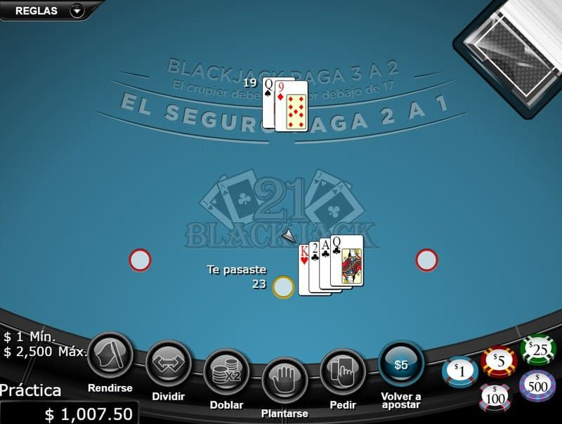 blackjack mano perdida bodog