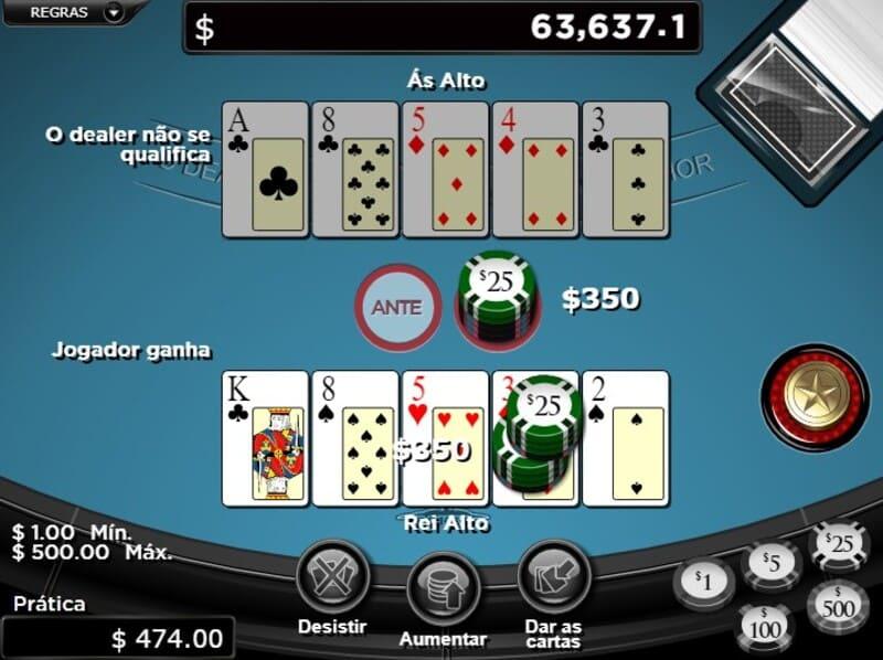 jogada poker rei alto
