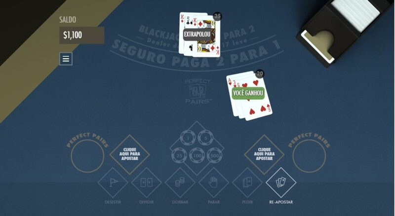 ganhou blackjack perfect pairs